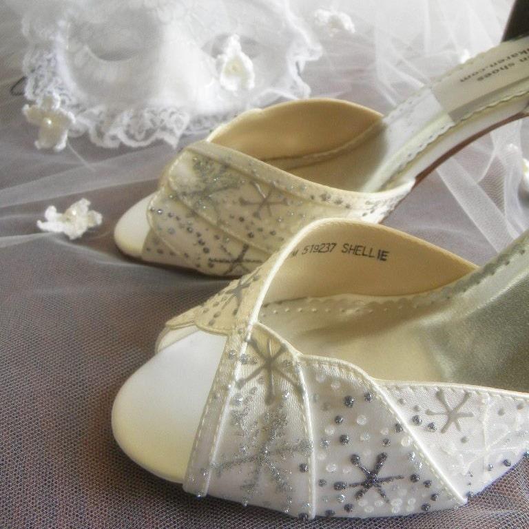 Shoes Bridal Wedding painted snowflakes and Rhinestones  Winter Wedding