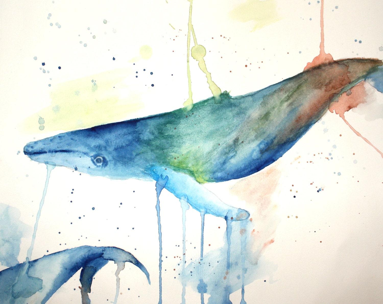 Watercolor Whale (print) - kelseyw1