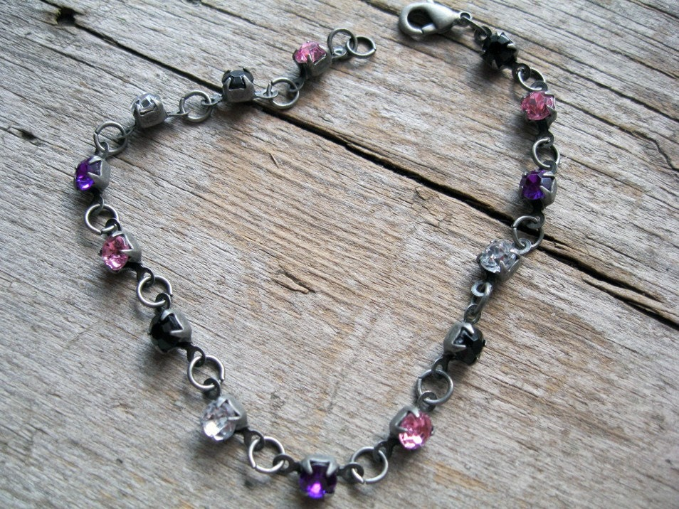 brushed silver and rhinestone anklet