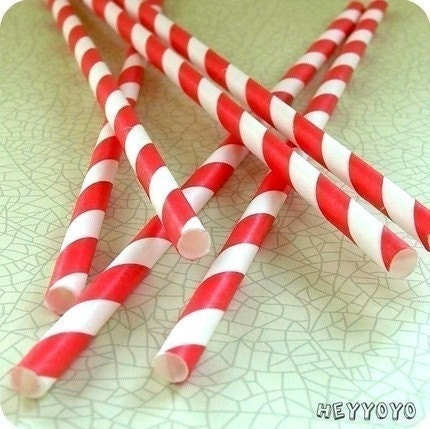50 RED Paper Straws and Custom Straw Toppers
