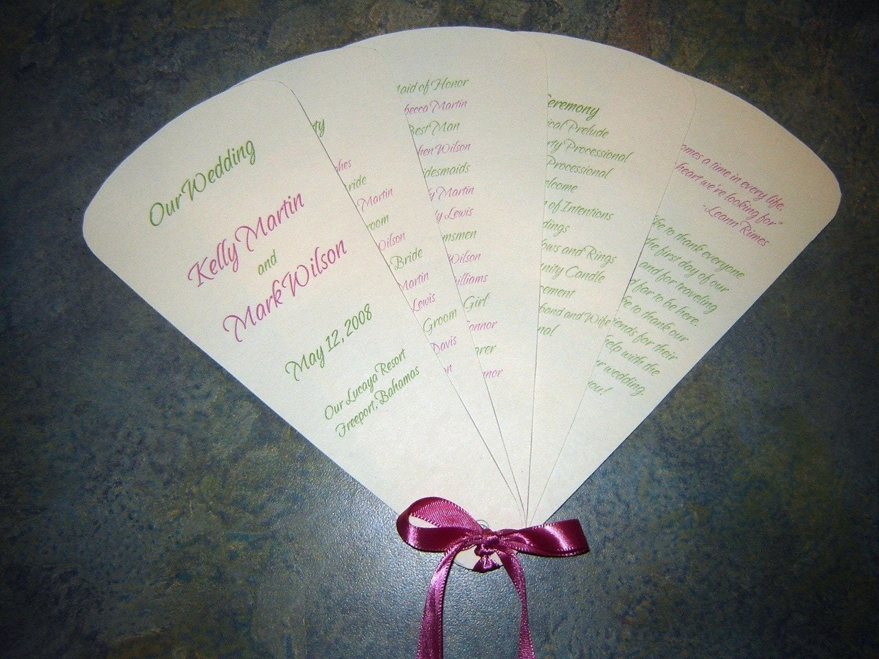 Wedding Program Fans for Beach Destination and Outdoor Weddings