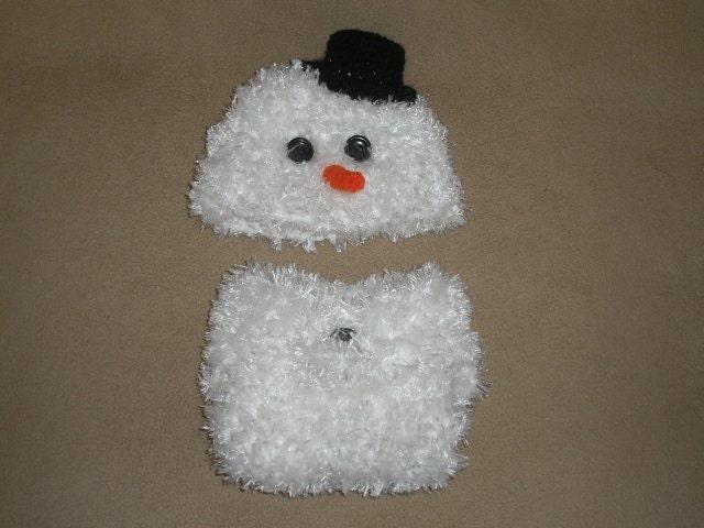 Baby snowman beanie & diaper cover  0 - 3 month - TupeloHoneys