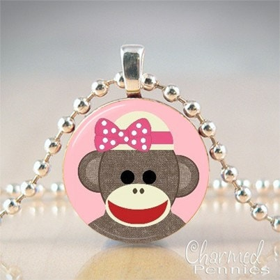 Sock Monkey (pink)- penny pendant handmade by Charmed Pennies