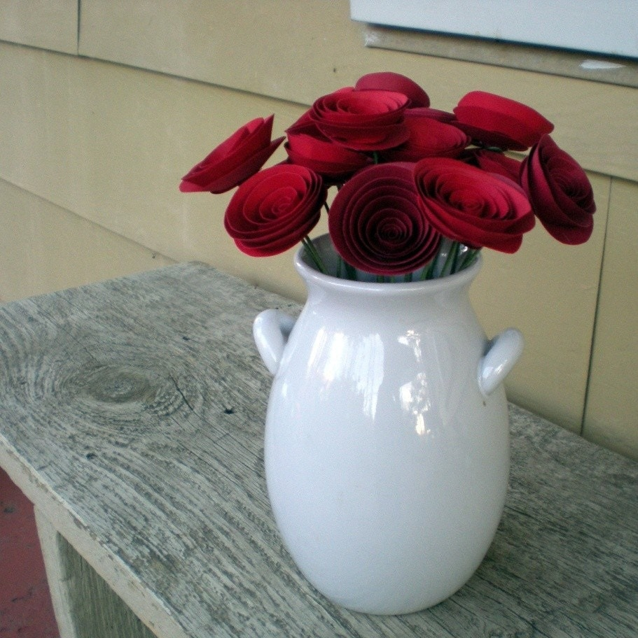 Romantic Red Paper Flowers Bouquet -- 1st anniversary -- Birthday present -- Valentines Day