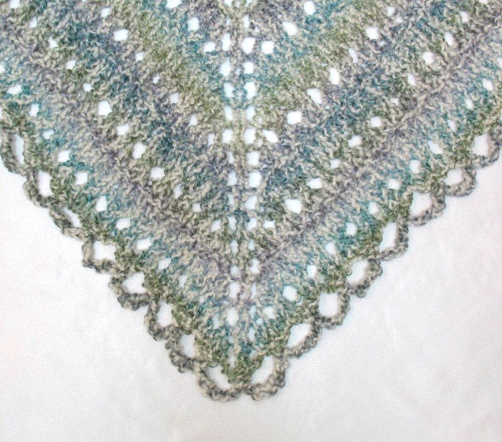 Triangular Prayer Shawl Knit Pattern : Prayer Shawl Hand Knitted Triangle Lace by SticksNStonesGifts