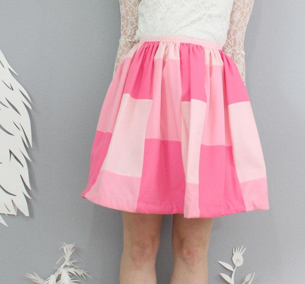 vintage 1970's PINK SQUARES mini skirt