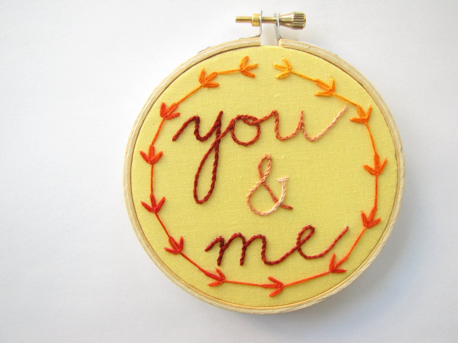 Embroidery Hoop Wall Art - You and Me with fall maple leaf garland - golden yellow and pumpkin orange