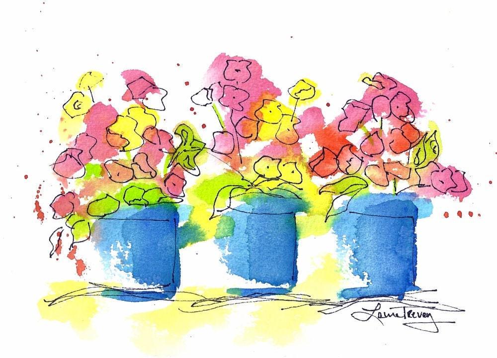 Bright Flowers, Original Watercolor Painting