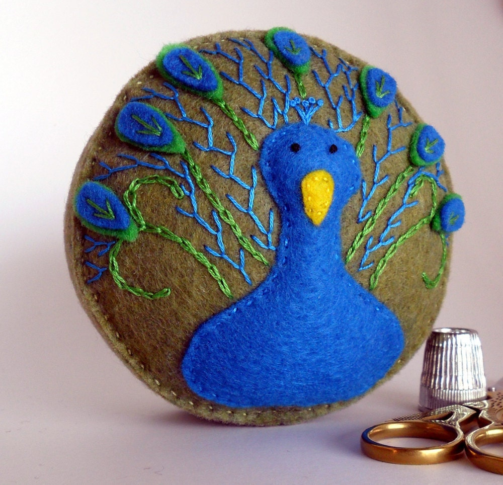 Peacock brilliant blue olive green embroidered handsewn recycled felt pincushion