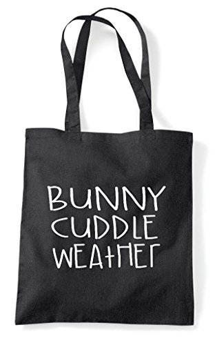 Bunny Cuddle Weather Pet Cute Funny Animal Themed Tote Bag Shopper