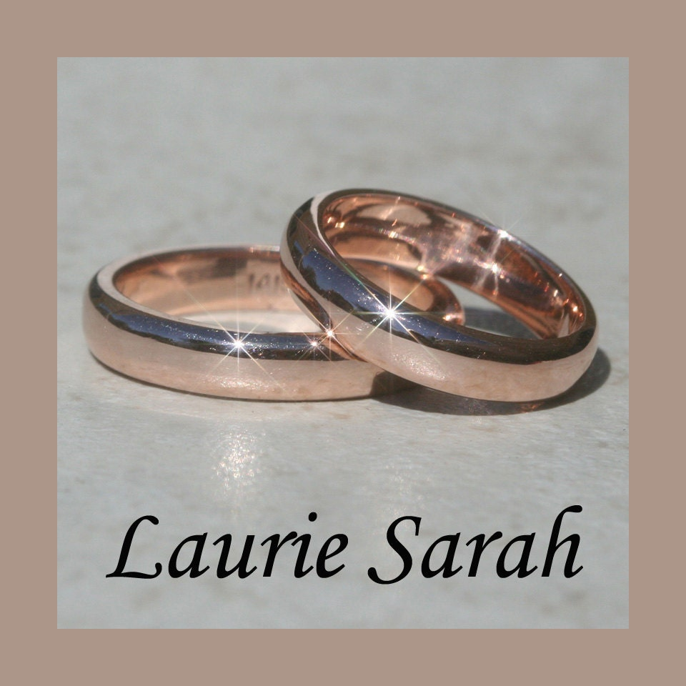 14k Rose Gold His and Hers Wedding Bands by LaurieSarahDesigns
