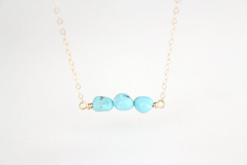 Turquoise Nugget Necklace - Layla- Gold