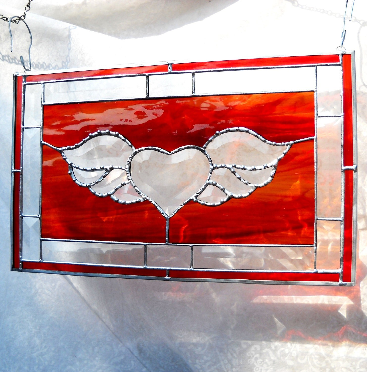 Winged Heart Stained Glass Panel with Beveled by ArtfulFolk - photo#1