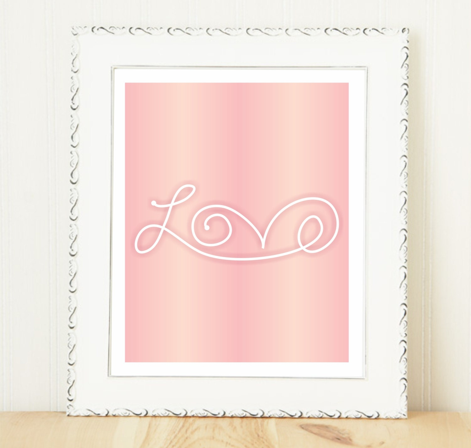 Love Continuous Love Art Print / Pink Ombre Love Print