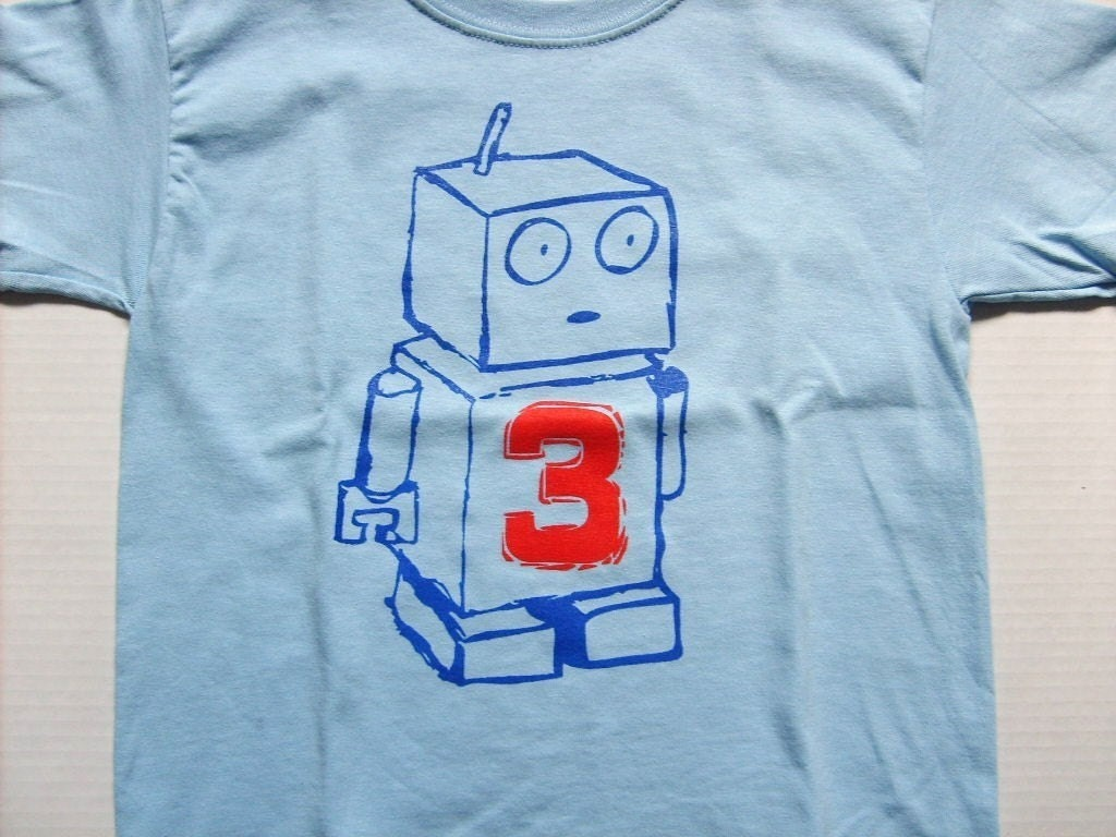 NEW ROBOT Birthday Graphic T Shirt  Available for 1st, 2nd, 3rd, 4th, 5th or 6th Birthdays  Many Sizes and Colors Available - ($13)