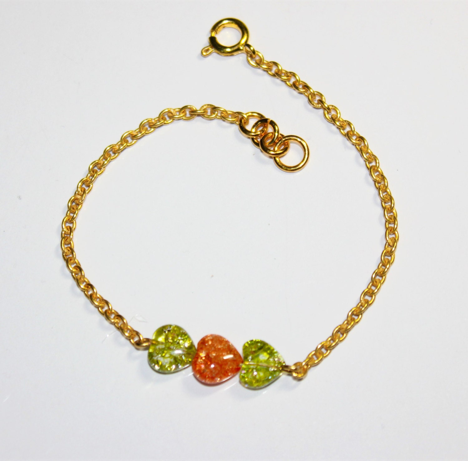 Peridot Green and Coral Heart shaped Crackled Quartz on Gold Chain Bracelet