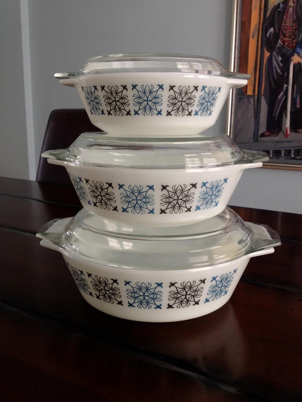 Vintage JAJ English Pyrex Nesting Casserole Set in by