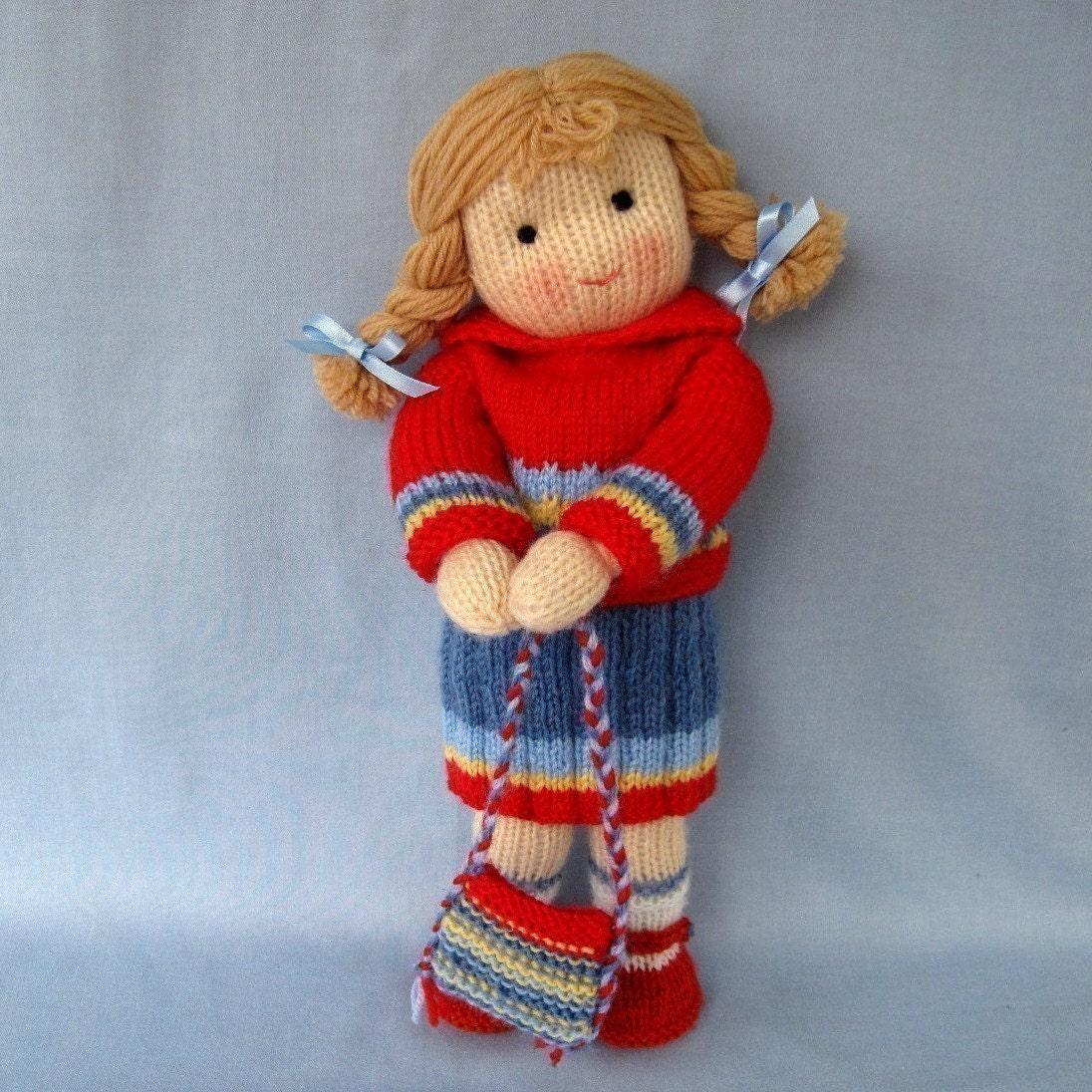 TILLY به مدرسه می رود -- عروسک اسباب بازی knitted -- پی دی اف ایمیل بافندگی الگوی