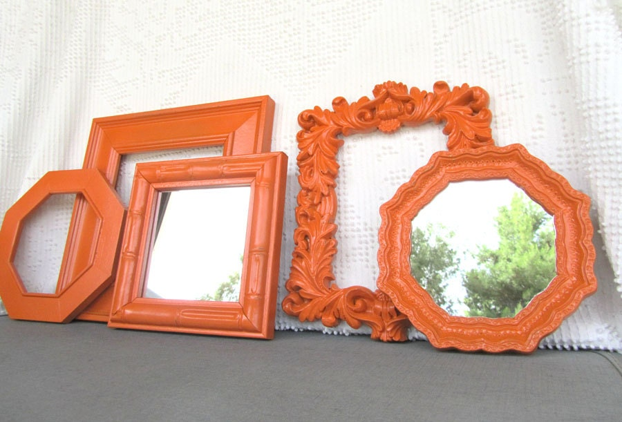Orange Upcycled Frame and Mirror Collection set of 5 Painted Modern Homco Mirrors Mid Century Teen Dorm Room Playroom Orange Nursery - BeautiSHE