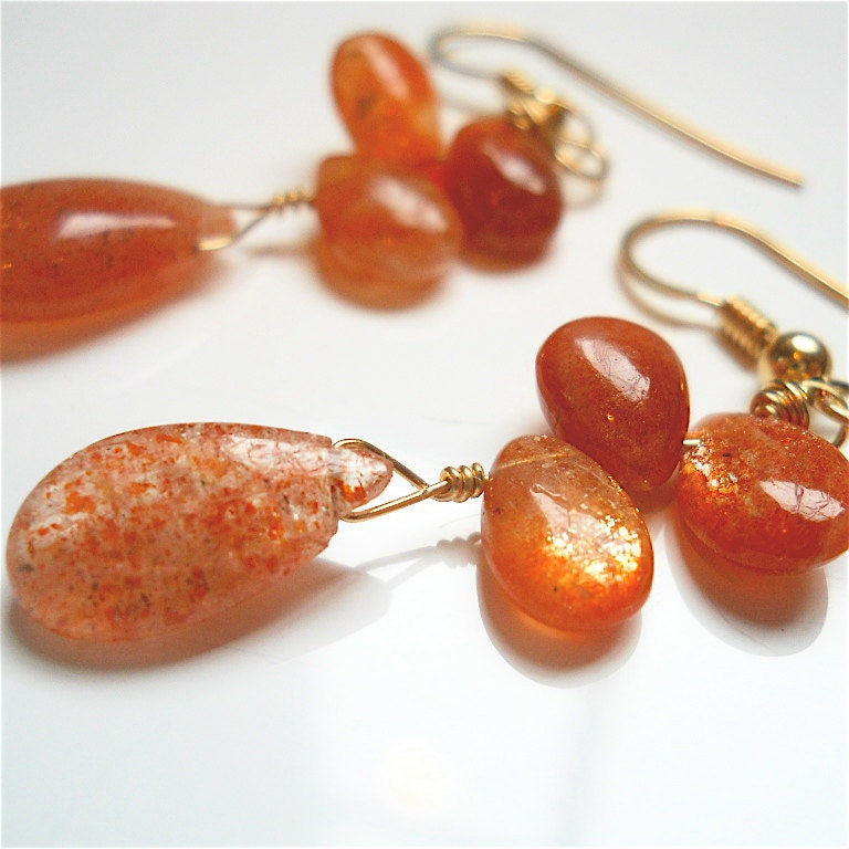 Oregon Sunstone Copper Orange Gemstone Earrings by YOURDAILYJEWELS from etsy.com
