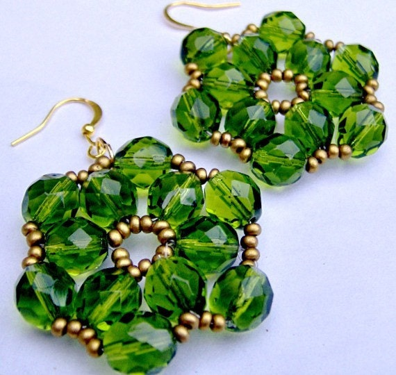 Green Crystal Earrings Bohemia on etsy, Olive Green Crystals, Green and Gold Earrings, Festive Party Earrings, Bright and Bold
