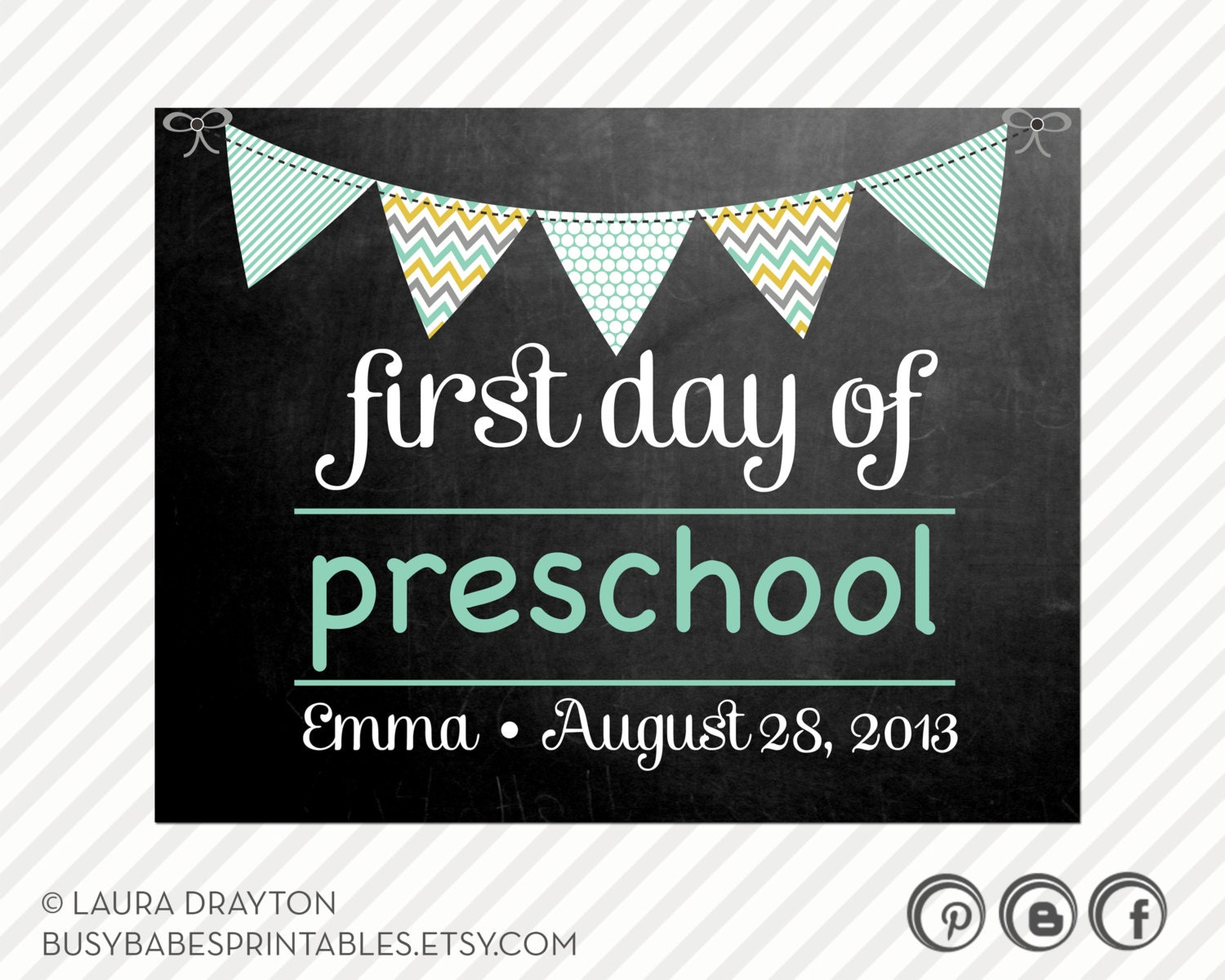 First Day of Preschool / School Signs - Personalization Option ...