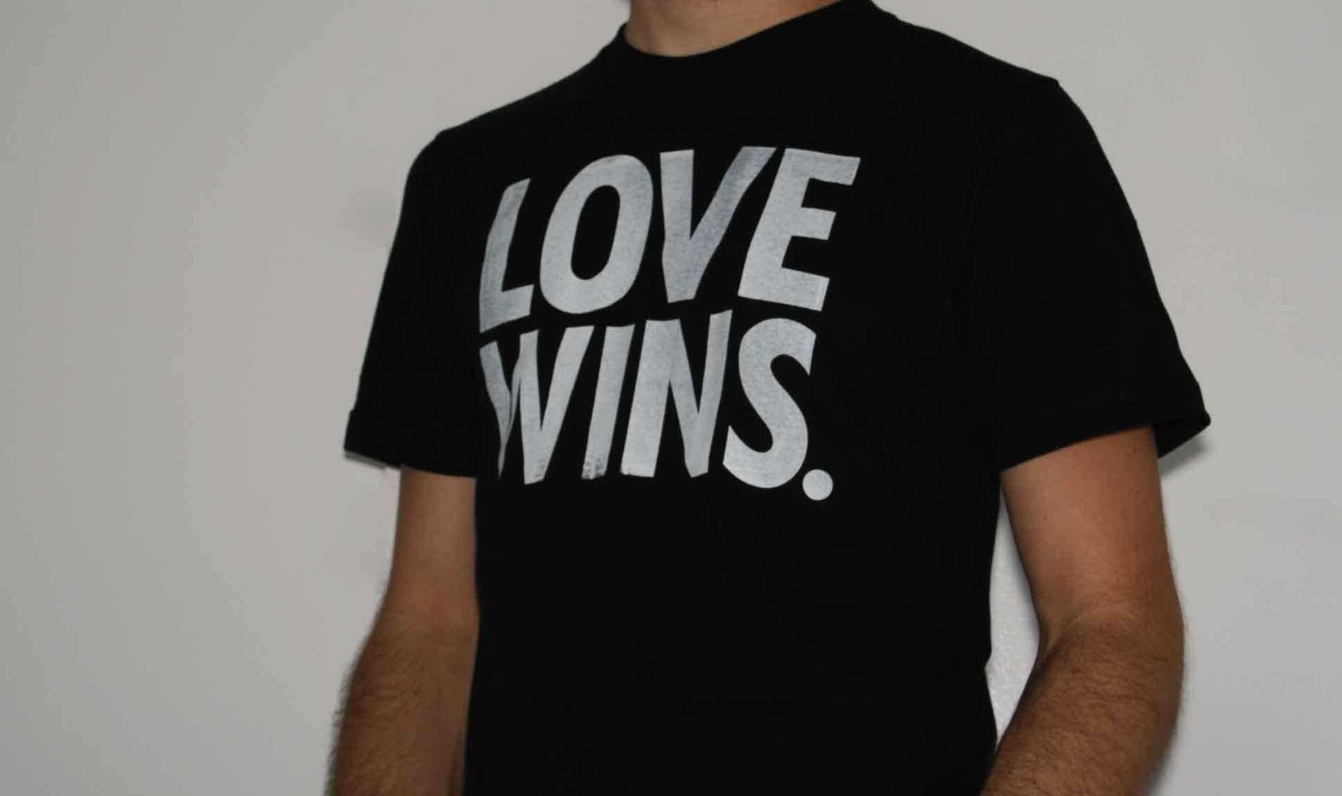LOVE WINS Period. Tee Mens American Apparel Black S/M/L/XL.