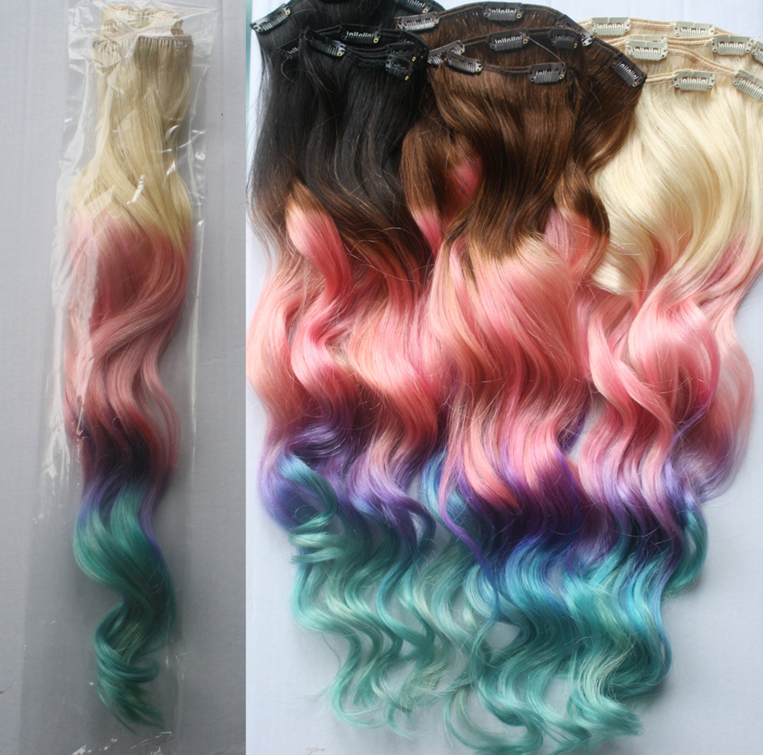 Clip In Pastel Hair Extensions 120