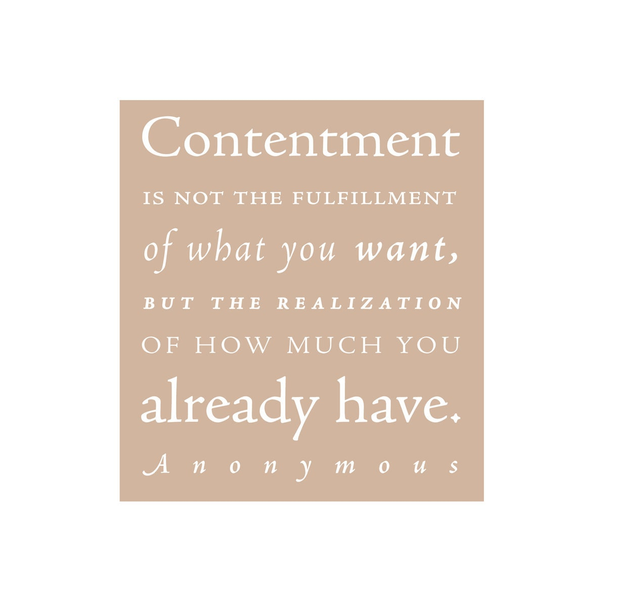 CONTENTMENT - inspirational quote - typographic design - art print - taupe - typeandimage