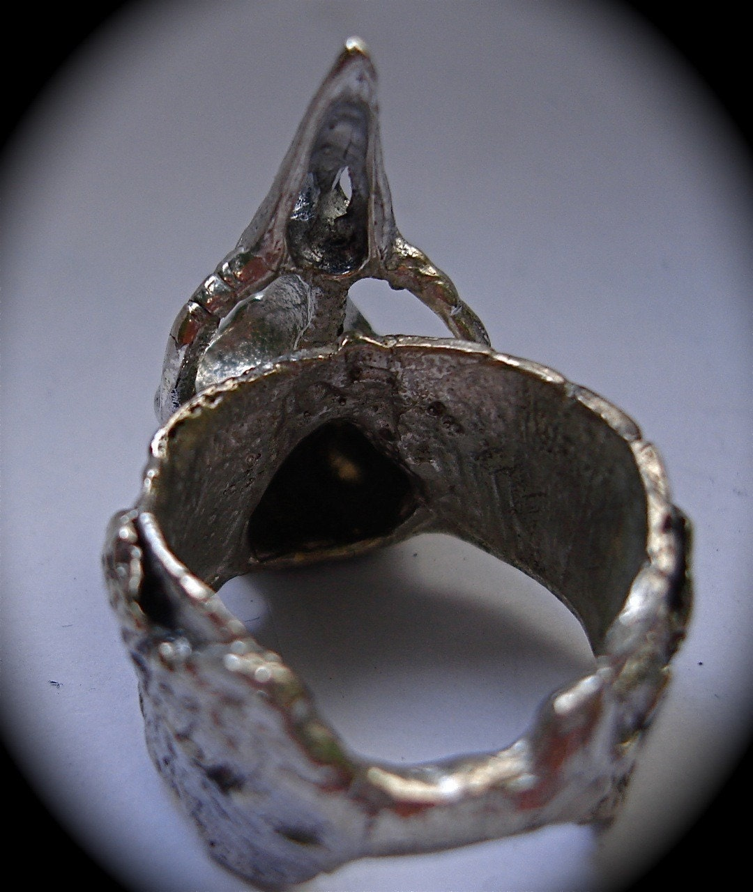 Bird Skull Ring Bark Ring in Sterling Silver adjustable from sizes 6 to 10  exclusively from Blue Bayer Billyblue22