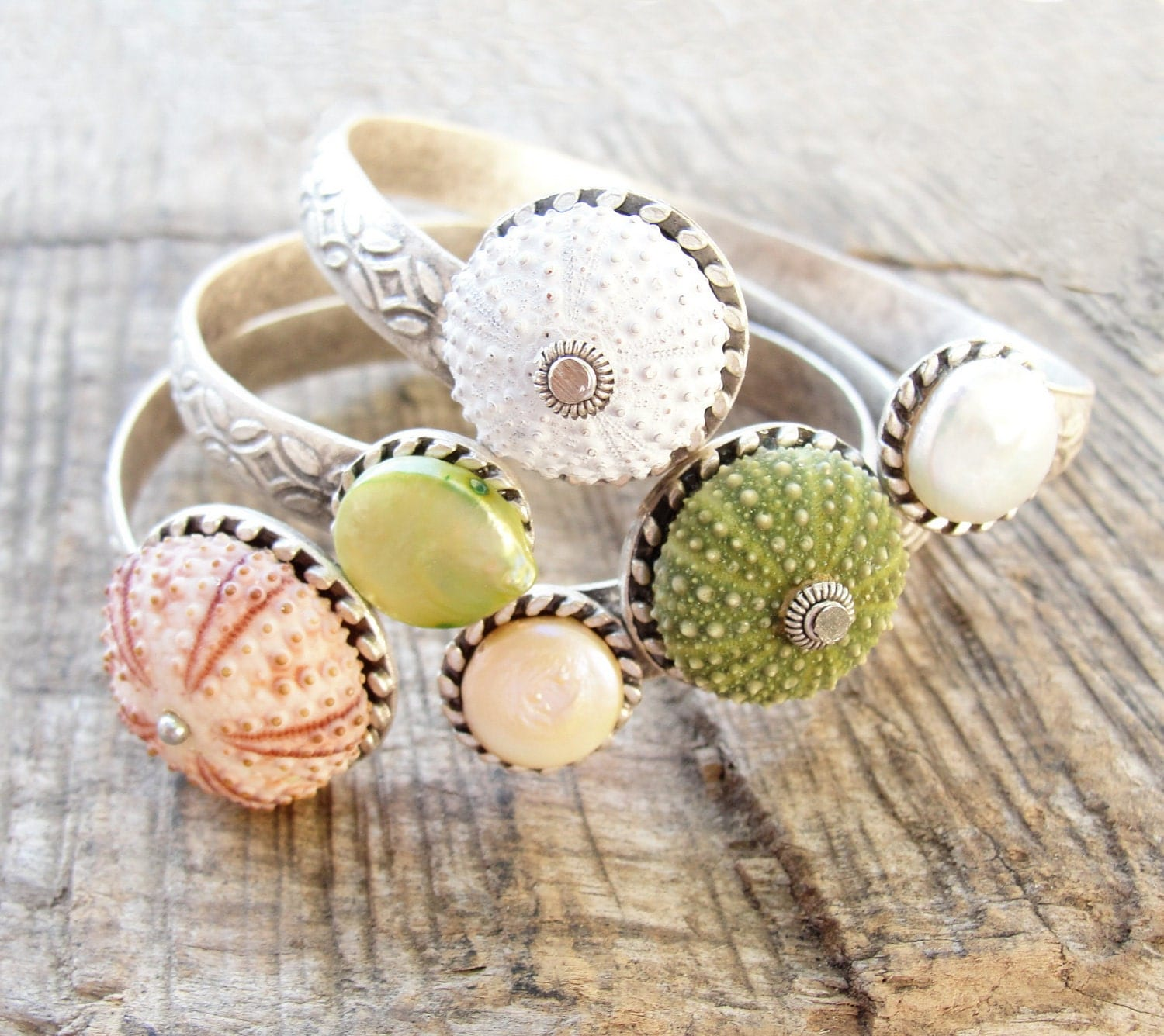 Sea Urchin Collection - Elegant Sea Urchin and Pearl Cuff - Pick Your Color - Pink Green White - StaroftheEast