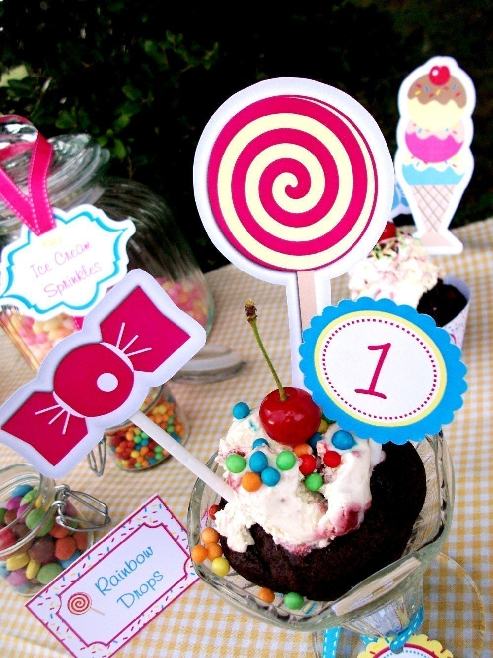 Vintage Ice Cream and Candy Party - Personalized with NAME and AGE - Printable Custom Party Supplies