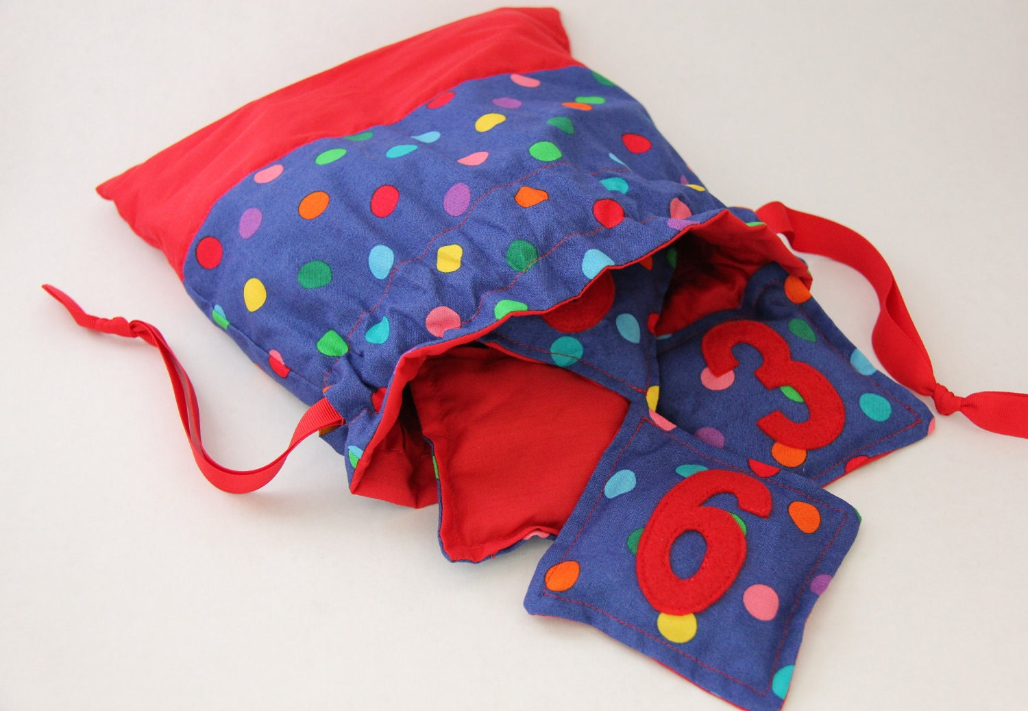 Numbered Bean Bags, Appliqued Numbers 1 - 10, Blue and Red with Rainbow Polka Dots, Coordinating Drawstring Bag Included - Pepperpicnic