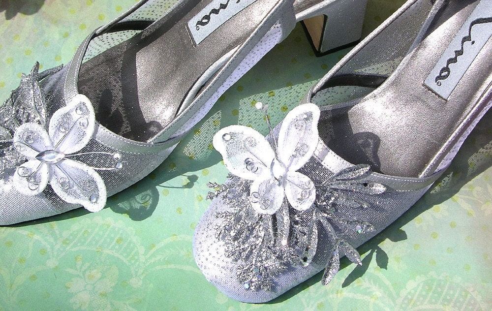 Stardust - silver sparkling shoes with glittering silver branches and butterflies size 8 narrow