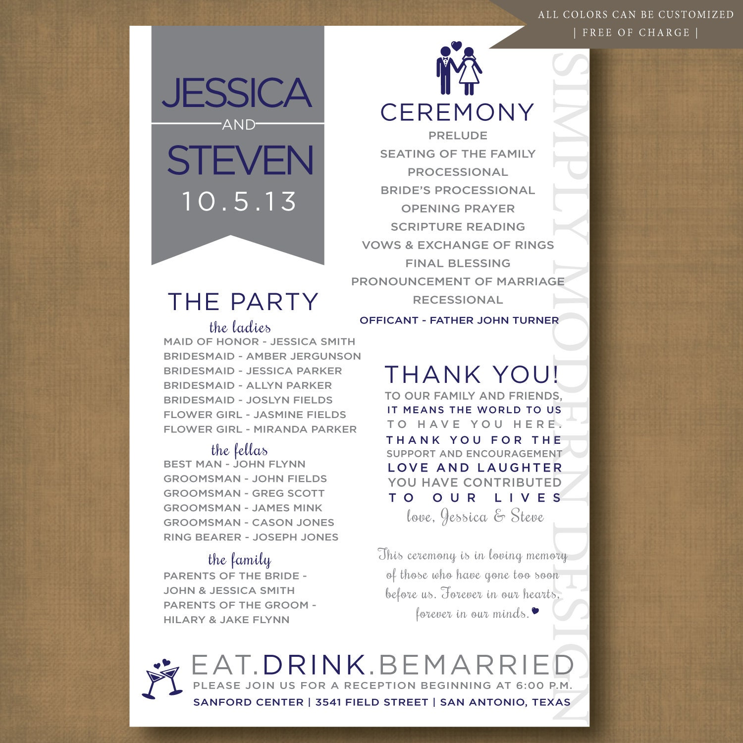 Unique And Fun Wedding Program PRINTABLE By SimplyModernDesignx