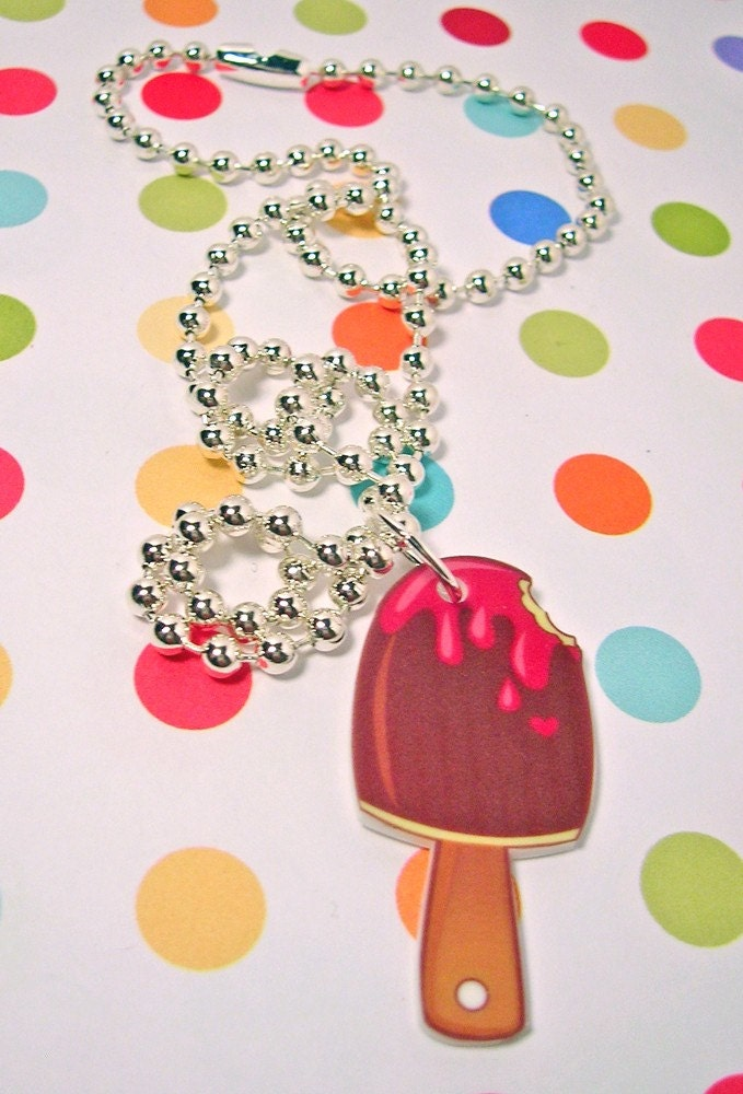 Ice Cream on a stick Necklace 18 inches