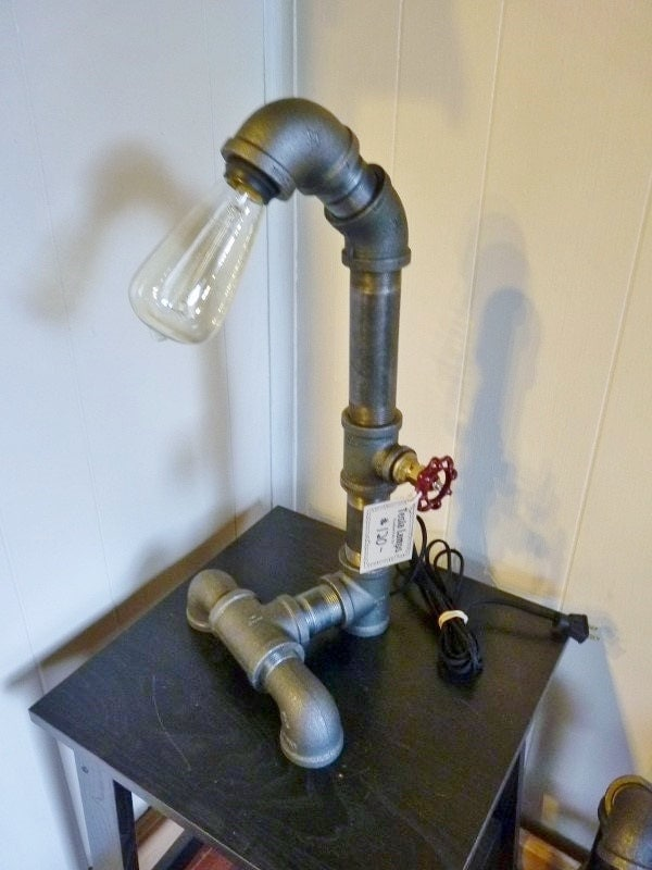 black iron pipe lamp with faucet handle dimmer handle controls flow. Black Bedroom Furniture Sets. Home Design Ideas