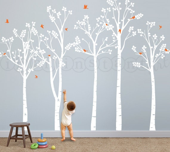 Birch tree wall decal birch forest and flying by for Birch tree mural nursery