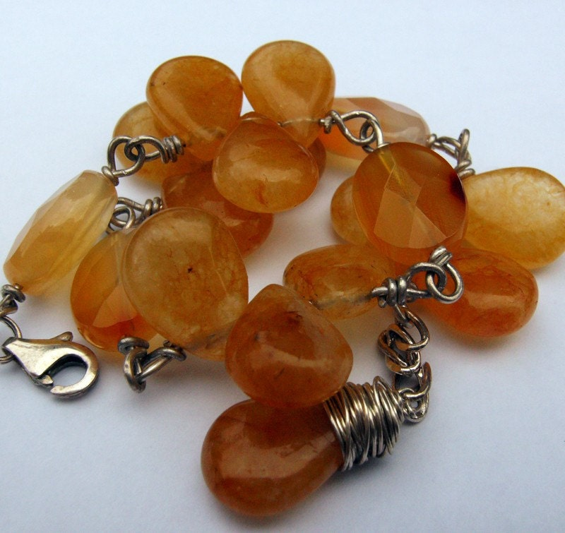 Desert Heat Bracelet - Carnelian and Citrine sterling silver bracelet with extender chain