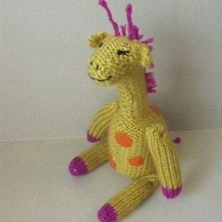 Handmade toys for kids hand knit giraffe rattle (Mervin the Giraffe)