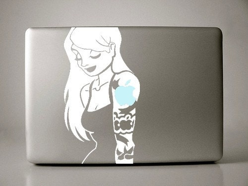 Blonde Tattoo Sleeve Girl Decal Apple Macbook Laptop. From IvyBee