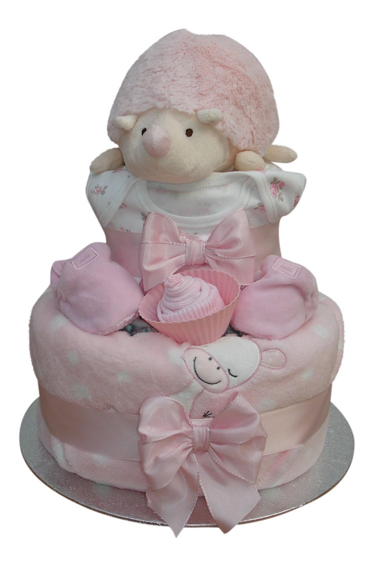 Hetty Hedgehog Two Tier Pink Starry Nappy Cake Baby Girl  Baby Shower Gift
