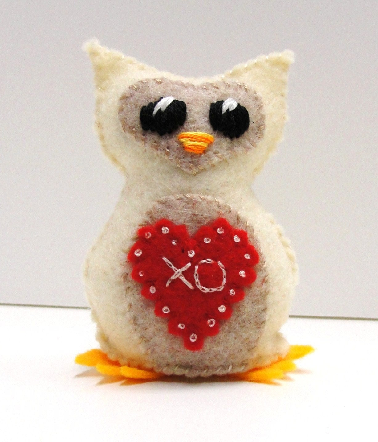 "felt owl- stuffed wee feltie owlet  for Valentine's Day in winter white with ""XO"" bright red heart"