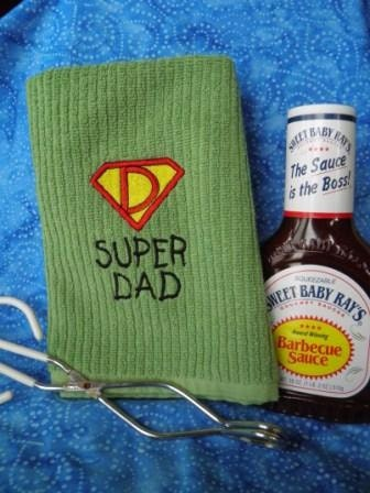 "Embrodiered ""Super Dad"" Kitchen Towel"