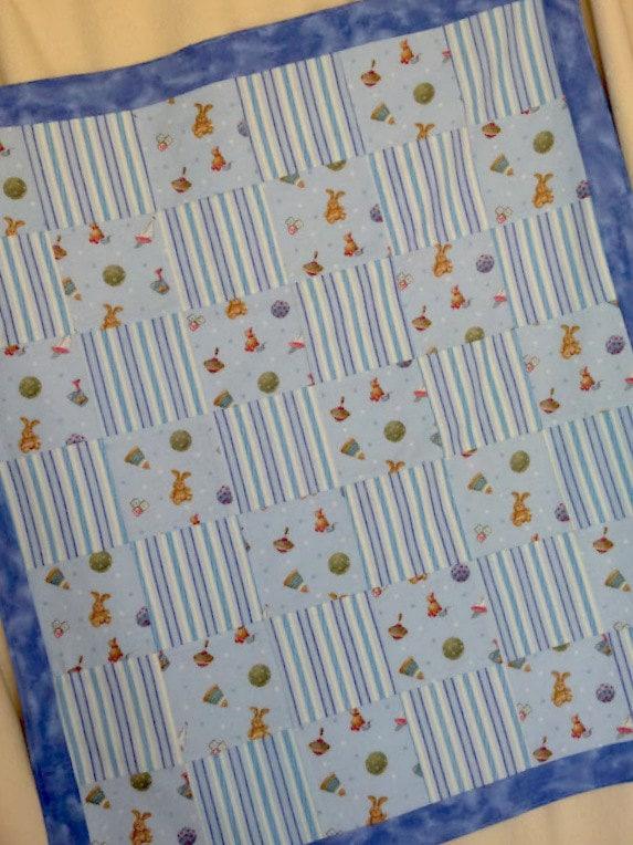 Vintage Toys Flannel Patchwork Blanket