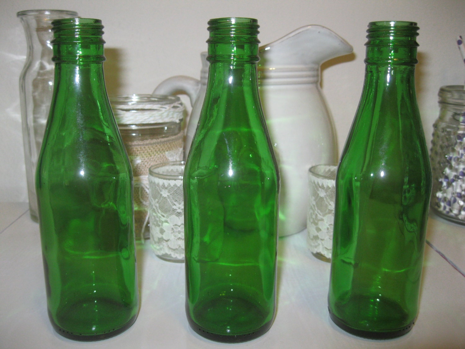Three green glass decorative colored 6 glass by bertolibridal for Colored glass bottles with corks