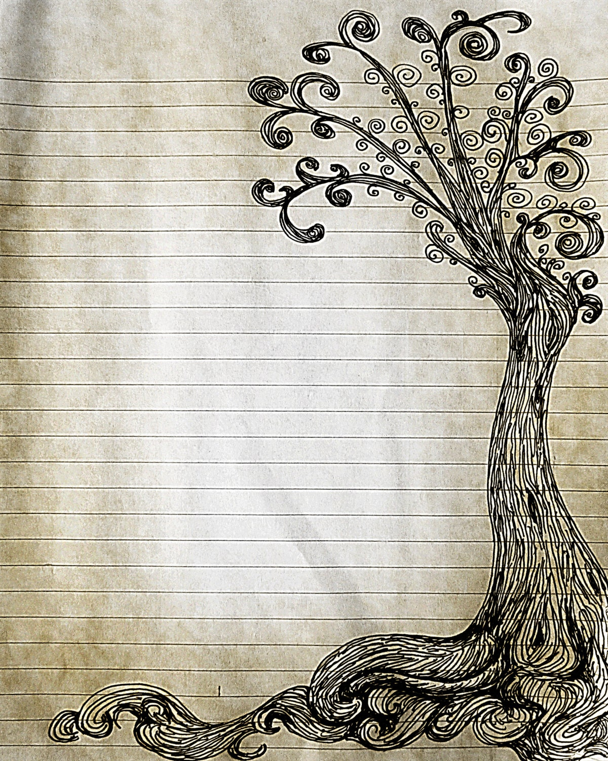 Items Similar To Printable Pen And Ink Tree Drawing Lined