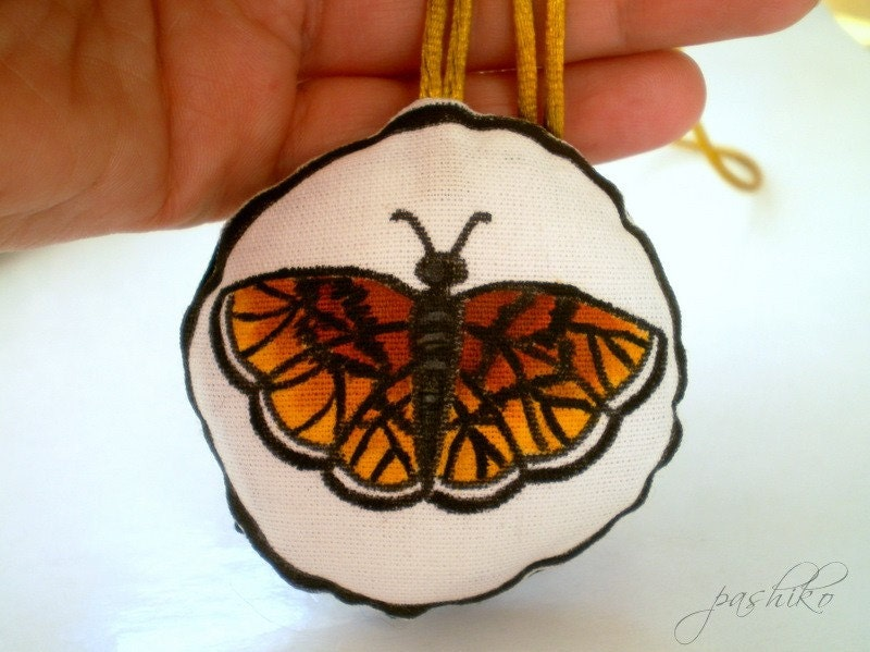 Hand Painted Amber Butterfly Necklace, Original painting soft plush doll wearable art, etsyeuro sale euroweek