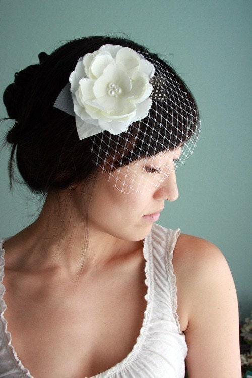 Dove  Lovely and modern bridal hair piece silk flower by myrakim