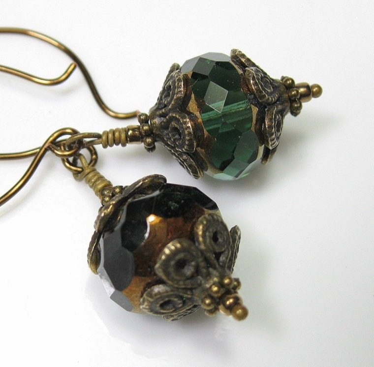 Green Bronze Czech Glass Vintage Style Earrings